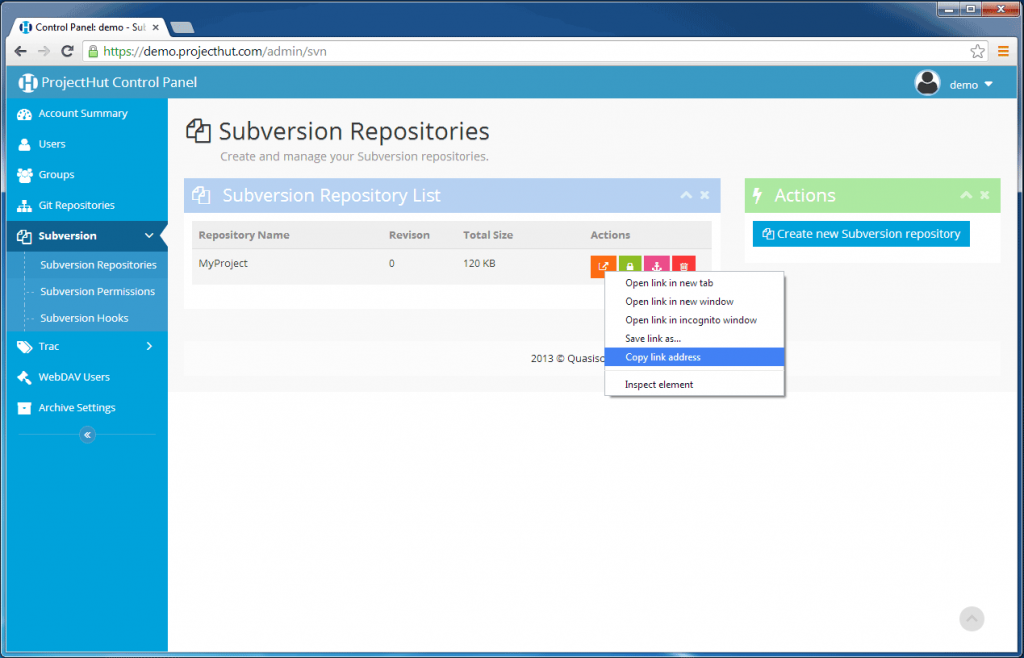 Right-click to get the SVN repository URL