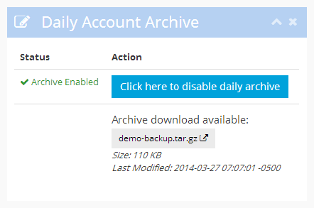 The daily account archive is ready for download