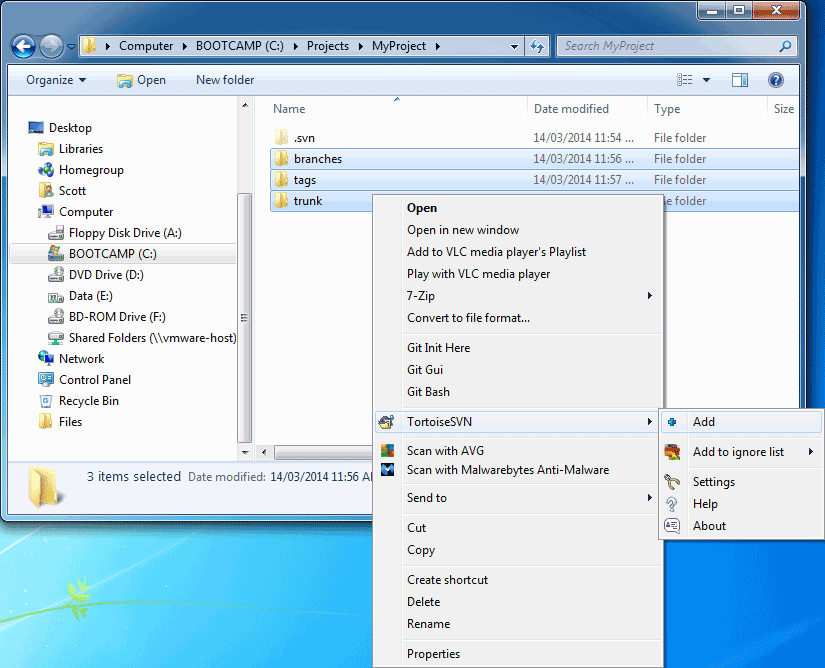 Right-click to Add selected files to the repository.